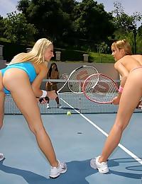 Three tennis playing ladies hook up