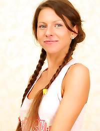 Brunette in braided pigtails ...
