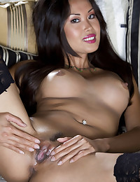 Asian Babe Exposes Succulent Pussy