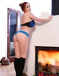 Blue lace panties and a lovely lace bra make Lucy Vixen supremely hot