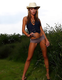 Outdoors with skinny hot girl