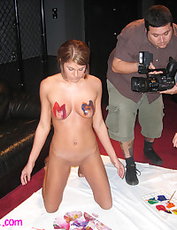 Melissa Midwest - Body painting in the radio studio for the horny host