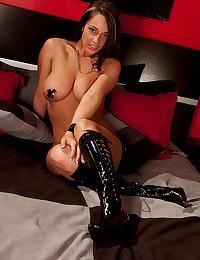 Latex boots on brunette hottie