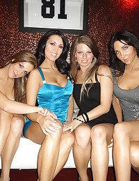 Naked party girls play with him