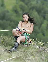 Outdoors with Asian pornstar