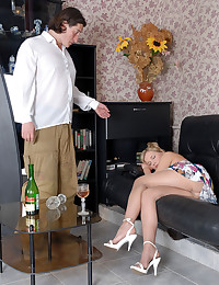 Leggy girl falling asleep after a drink letting older stud take advantage