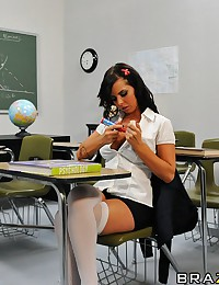 Final Exams have arrived and as usual, none of the students are prepared. They all have unique ways of cheating, especially Brandy, who writes a bunch of crib notes on her tits. During the exam, the instructor catches one of the students cheating and esco