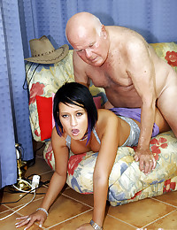 Slutty babe gets turned on by an old senior