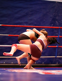 Girls wrestle and make out