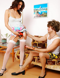 Sissy in stockings fucked by ...