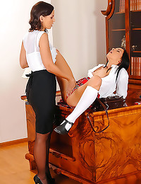 Schoolgirl spanked by headmistress