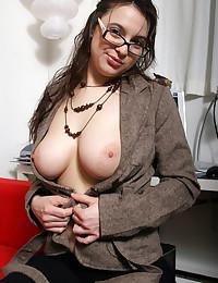 Lustful office broad teasing ...