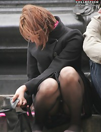 Sitting upskirt. Redhead spyed sitting on stairs