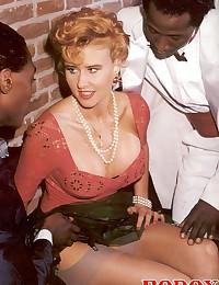 Two black guys fucking a blonde retro wife