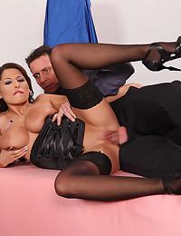 Glamorous busty stockings beauty sex