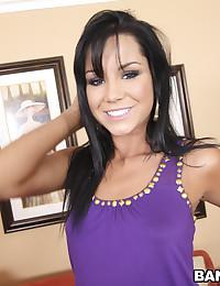 Tempting girl in purple top