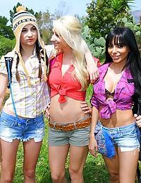 Ladies outdoors having lesbian picnic