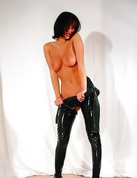 Latex catsuit striptease and ...