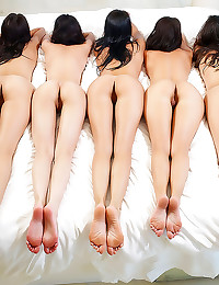 Five naked girls pose togethe...