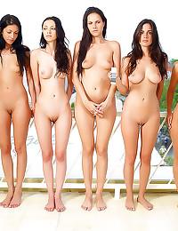 Five naked girls pose togethe...