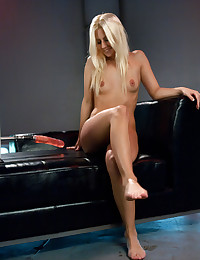 Horny Blonde Spreads For Fuck Machine