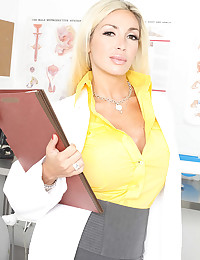 Busty Blonde Doctor Evita Treats Patient