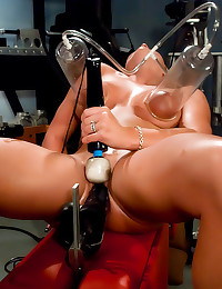 Great smile on dildo machine ...