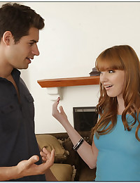 Young redhead and a big cock