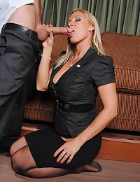 Stunning Cougar Enjoys Steamy Office Sex