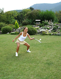 The hot chicks are playing badminton outdoors but they can't help having lesbian sex.