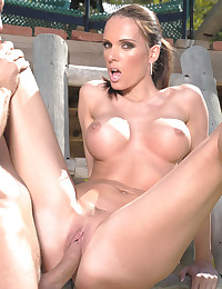 Tennis babe fucked outdoors