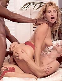 Real and horny retro interracial threesome