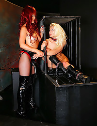 Leather and latex femdom play