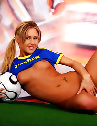 Soccer girl shows small tits