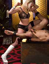 Hot blonde strapon fucks him