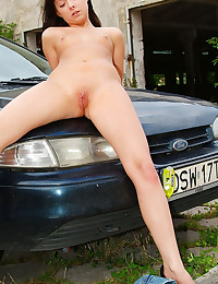 Eva Darling - Shameless hottie spreads her legs on the hood of her grandma's ride