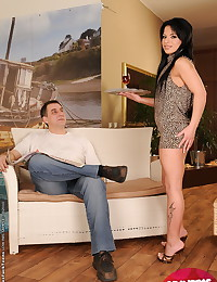 Skinny dark-haired sucking and fucking w her boss