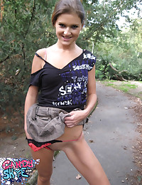 Candy Skye - Schoolgirl slut strips her uniform in the woods and masturbates