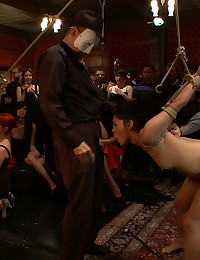 The Princess celebrates her birthday in royal fashion on The Upper Floor. Two girl bondage, public fucking, and lots of cum swapping!