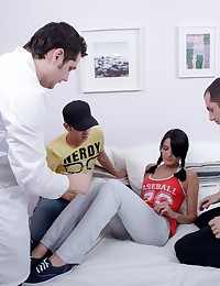 That was hard to seduce Luba and make her take off her panties. But when she finally undressed the boys enjoyed fucking her a lot.
