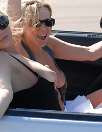 Ann Angel - Young blonde bitches flashing in their cabriolet car