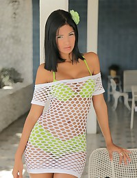 Karla Spice - Curvaceous teenage latina shows you what's hidden under her mesh dress