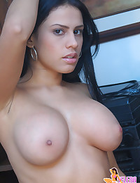 Selena Spice - Alluring and spicy dark haired chick in army lingerie