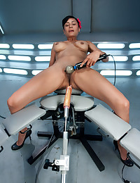New girl's first porno-she likes it so deep it looks like she is fucking cold steel, the dildo buried in her pussy until the machines make her squirt