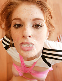 Gorgeous Redhead Faye Swallows Jizz