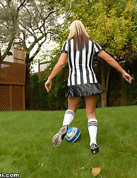 Next Door Nikki - The girl is a naughty referee in a super short skirt