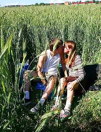 Teen fuck in grassy field