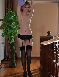 A sexy black stockings model