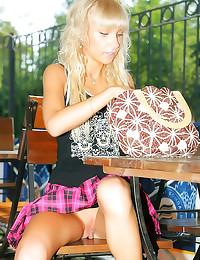 Sexy upskirt blonde outdoors