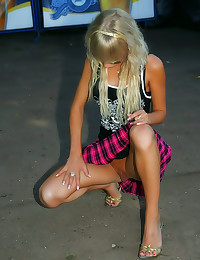 Sexy upskirt blonde outdoors